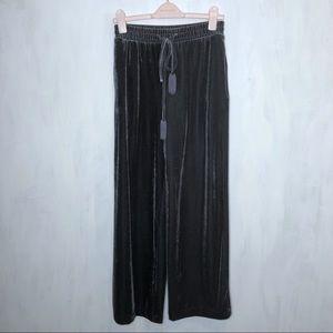 Who What Wear Grey Velvet Tassel Wide Leg Pants S
